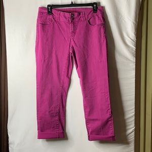 Elle Washed Fuchsia Pink Crop Jeans